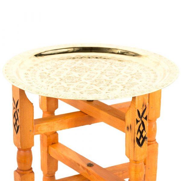 Arabic Tea Room Table - Handmade Moroccan Engraved Brass Tray