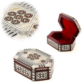 White Oval Box - Nacar - Velvet - Inlaid in Egypt