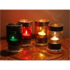Cylindrical glass candle holders with Alpaca - Various Colors
