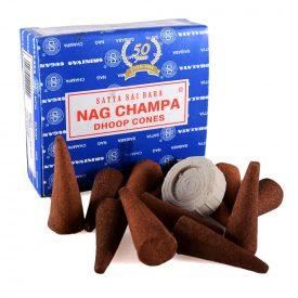 Nag Champa Incense Cones - SATYA - 12 units - Includes Base