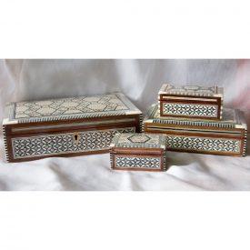 Egypt White Rectangular Marquetry Jewelry Box - 6 Sizes