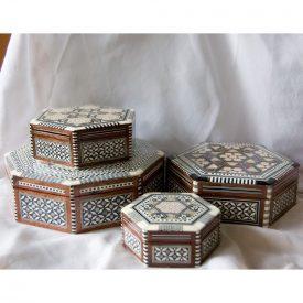 Egypt White Octogonal Marquetry Jewelry Box - 5 Sizes