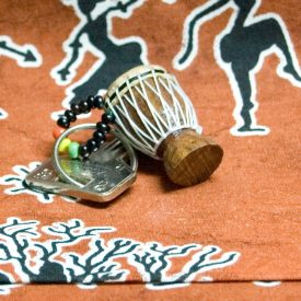 African Djembe Keychain - Miniature - Wood and Leather