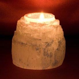 Natural Candle Holder Selenite - Mineral Bruto - Feng Shui