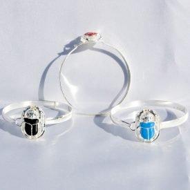 Egyptian Silver Scarab Bracelet - Various Colors - 6 cm