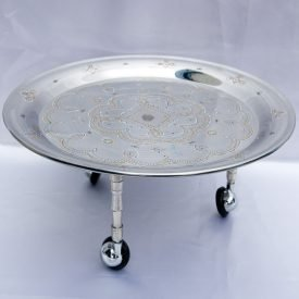 Mauritanian Tea Tray with Legs-Round-Hand Painted-36cm