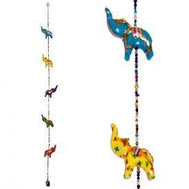 5 Elephant Pendants - Luck - Bell - 100 cm