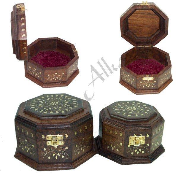 Hexagonal Wood Box - Bronze Inlays - 2 Sizes
