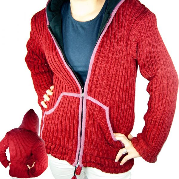 Wool Jersey 100% Natural - Red or Gray - Various Sizes