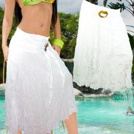 Cotton Skirt - White Summer - Coco Belt - One Size