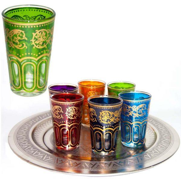 Set 6 Glasses Arab - Hand of Fatima - Multicolor - Model 2