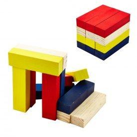 Wood Blocks Set - Multicolor - 12 Pieces - Mount Figures