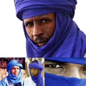 Tuareg Cotton Scarf - Navy Blue in 2 Tones - Quality - 220 cm