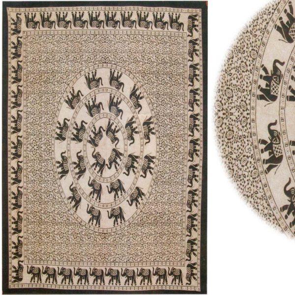 India-Elephant Cotton Fabric Geometric-Artisan-210 x 240 cm