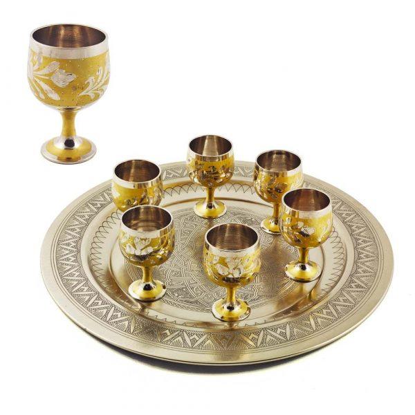 Game 6 Tea Glasses Bronze - Floral Design - 7.5 cm