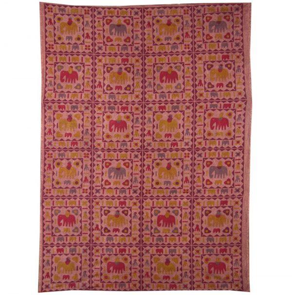 India cotton fabric - Painting elephants - artisan-140 x 210 cm
