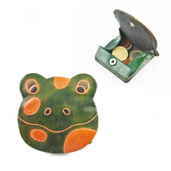 Leather purse Animals - Decorated Colors and Reliefs-9 x 8 cm