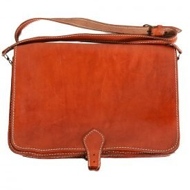 Handmade Leather Briefcase - 1 compartment + Pocket - close security