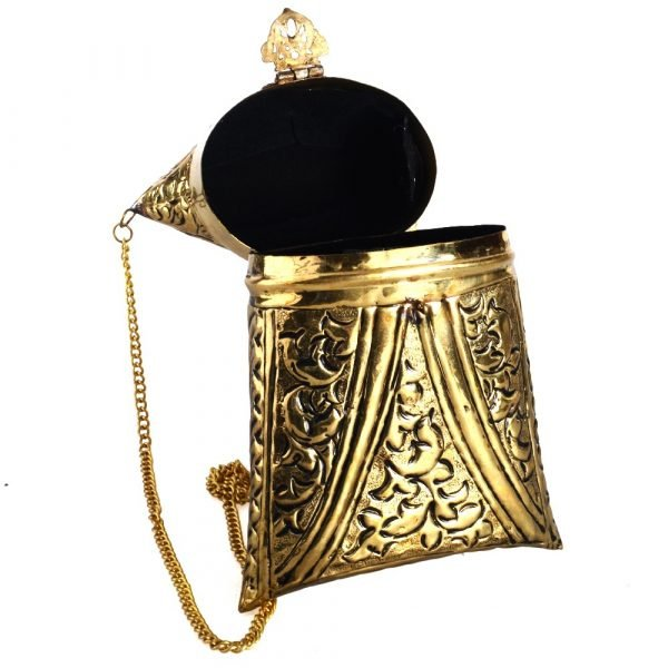 Cow and brass - Horn bag made by hand - chain and closing - Vertical model