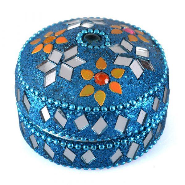 Box shiny round - inside velvet - assorted colors
