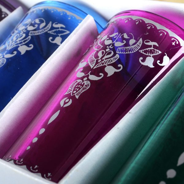Game 6 glasses Arab - Floral decor - new - model 10