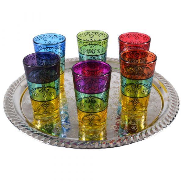 Game 6 tea cups prints - filigree Floral Henna - Tricolor