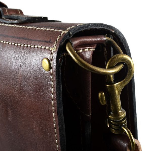 Briefcase Office leather - 3 compartments - inside pocket for mobile - 38 cm