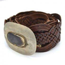 Braided Leather Belt with Bone Inlay - Alpaca - 95 cm - Adham Model