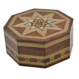 Octagonal Box Syrup Taracea - Mosaic Design - Model Al Raqa - 9 cm