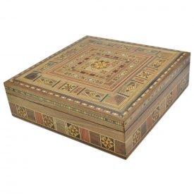 Square Syria Taracea Box - Wood and Nacre Decoration - 25 cm