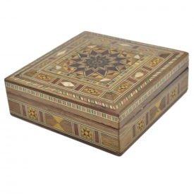 Syria Square Taracea Box - Star Cap 12 Tips - 13 cm