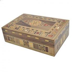 Rectangular Taracea Box Syria - Rhomb Design Cover - 22 cm