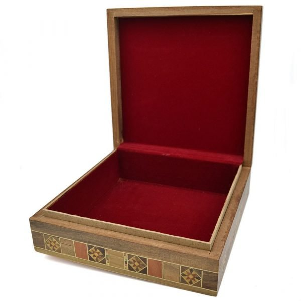 Square Syria Taracea Box - Wood and Nacre Decoration - 19.5 cm