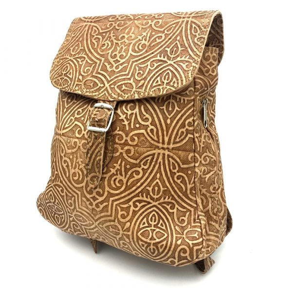 Small Embossed Leather Backpack - Camel Model - 6 Pockets