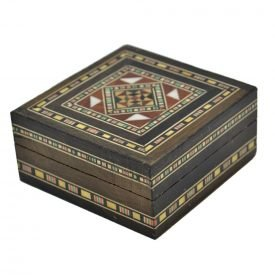 Syrian Square Arabic Tabernacle Box - Decorated Cover - 7.5 cm