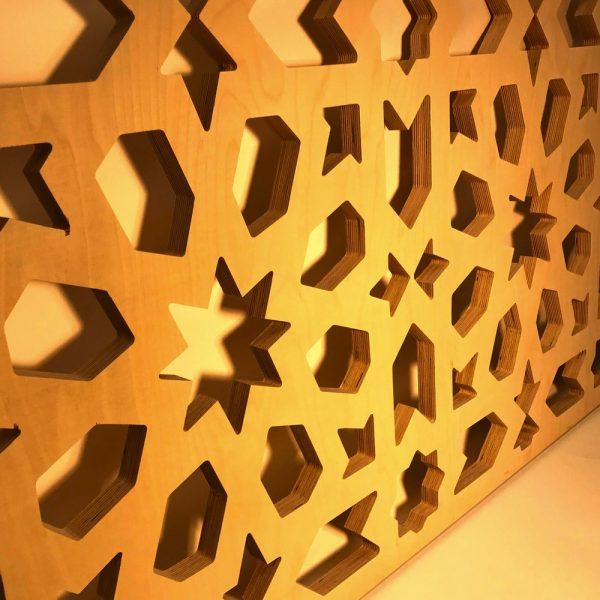 Arabic Celosia Wall or False Ceiling - Laminated Wood - Geometric Design