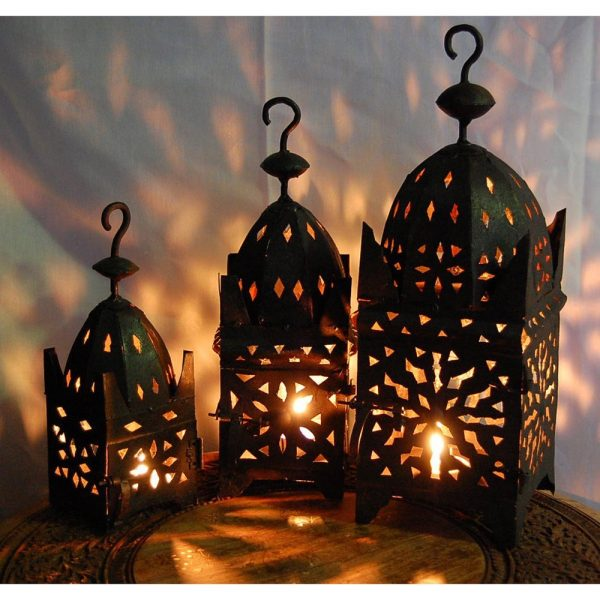 Set 3 Square Iron Lanterns for Candle - Ideal Gift