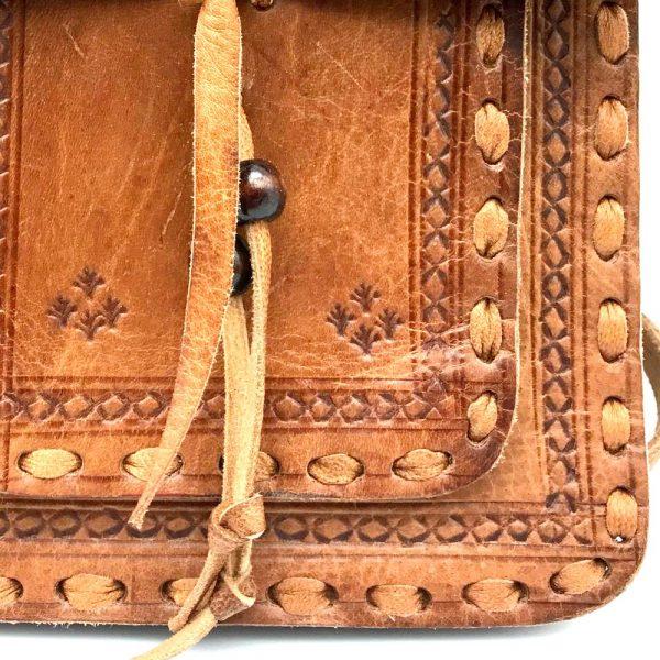 Agadez Leather Pocket Bag - 2 Pockets - Embossed Leather