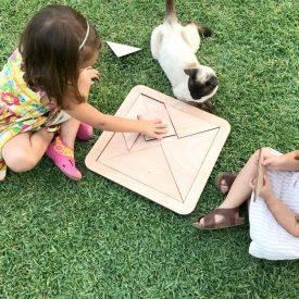 Giant wood tangram