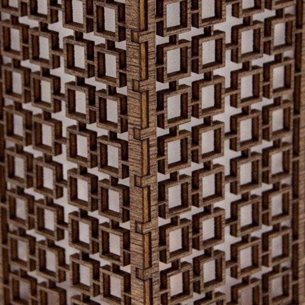 Mini Oriental Lantern - Wood - Led