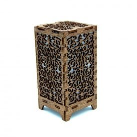 Mini Floral Lantern - Wood - Led