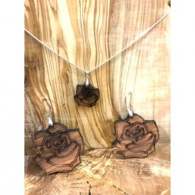 Pink Pendant and Earrings Set - Olive Wood with Silver