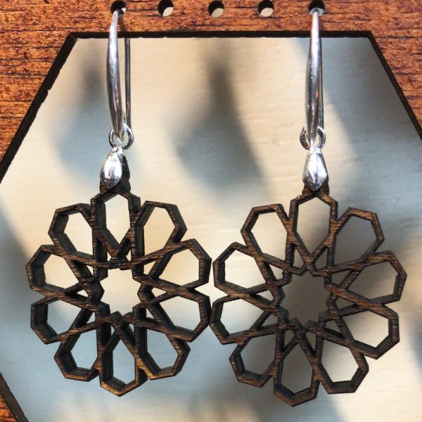 Olive Wood Earrings with Silver - Alhambra Design