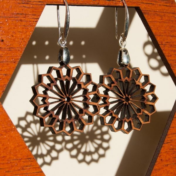Olive Wood Earrings with Silver - Najma Design