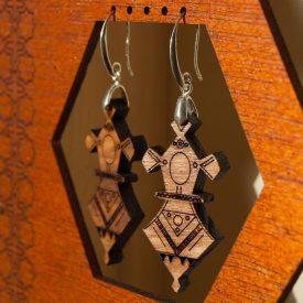 Tuareg Earrings - Agadez Design - Olive Wood and Silver