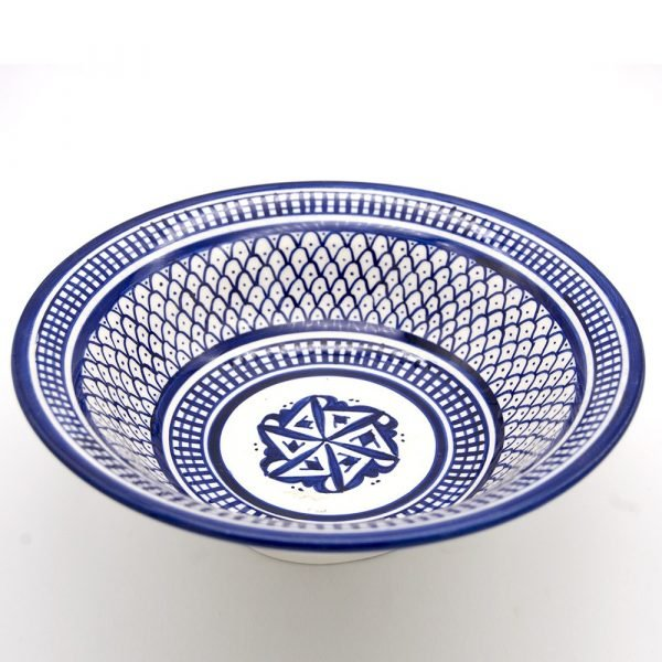 Decorated Fez Plate 23 cm - Painted Ceramic