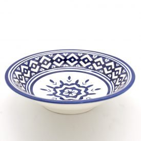 Decorated Fez Deep Plate - 19 cm - Painted Ceramic - White Blue