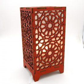 Alkauzar Red Wooden Lamp - Alhambra Mosaic Design