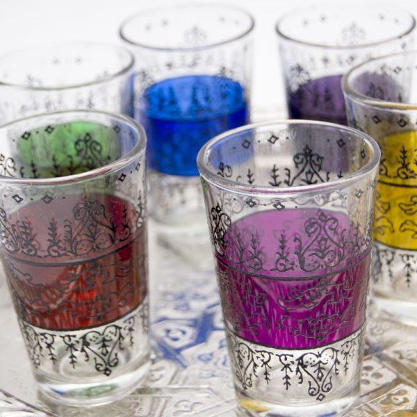 Set 6 Engraved Tea Glasses - Embossed Floral Design- Model ZAHARA