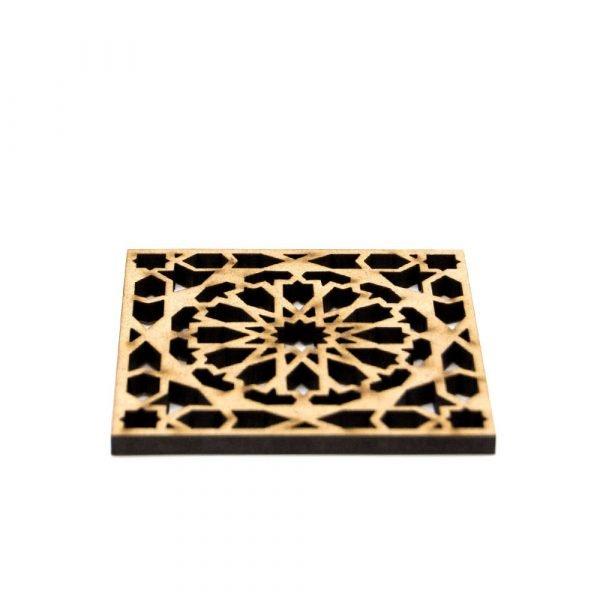 Set 6 Arabic Lattice Coasters - Wood - Alhambra Model